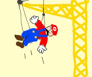Crane picks up mario