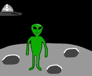 Green alien on moon