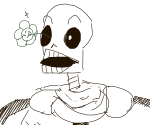 Papyrus with a flower in his eye socket