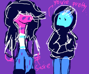 a dude with a black hood compliments susie