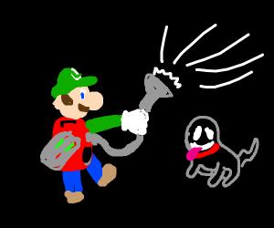Luigi walking his pet ghost