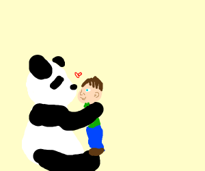 Panda being affectionate to a boy.