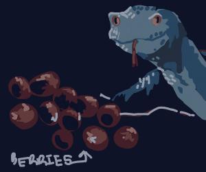 Snake hissing at berries