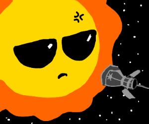 Cool sun doesn't like satellite