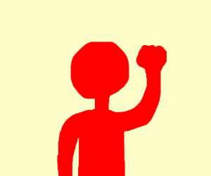 a dude wearing a red morphsuit raises a fist