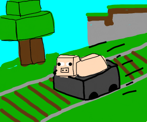 Pig on Minecraft minecart