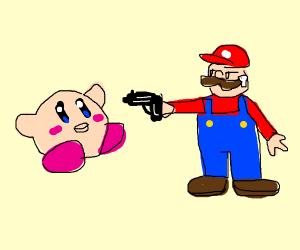 Mario attacks kirby