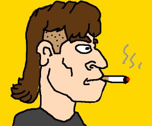 Mullet man smokes cigarette