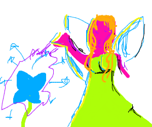 fairy making a blue flower explode
