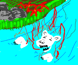 White tiger is drowning while being on fire