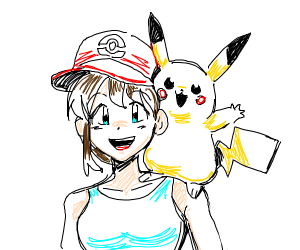 girl with pikachu on shoulders