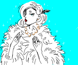 woman with pearls collar and fur
