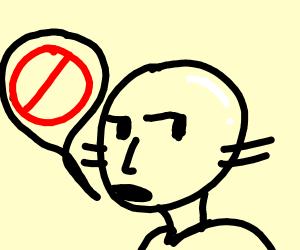 Bald man saying no