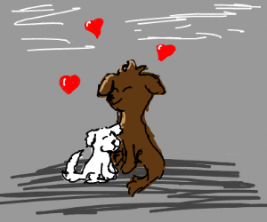 2 dogs in love