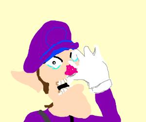 Waluigi eats his hand