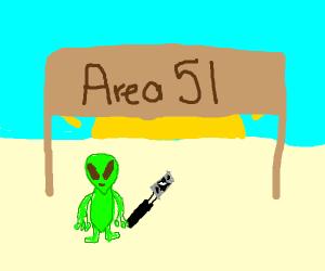 Alien taking selfie in desert