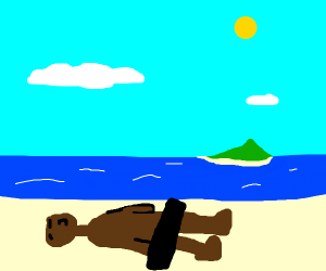 nakey man bathes in the sun