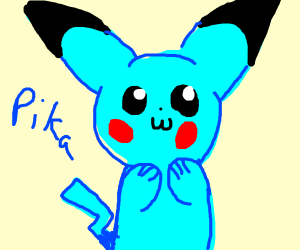 Blue Pikachu (Pika-blue, if you will)