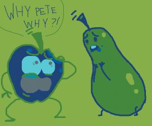 Pear accidentally eats an apple