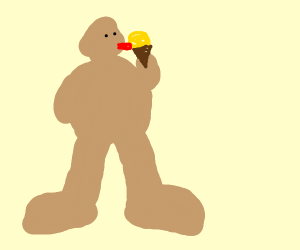 Bigfoot eating Ice Cream