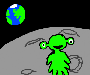funky alien chills on the moon
