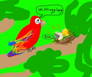 Parrot Struggling