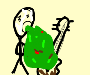 Man puking on guitar