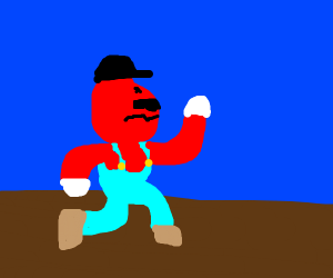 Angry mario with black hat