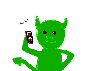 green pig demon chats on the phone