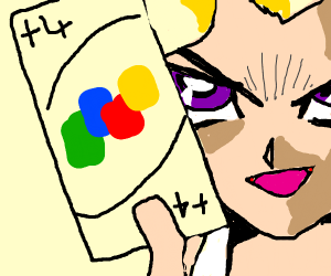 anime guy smirks and holds the uno plus4 card