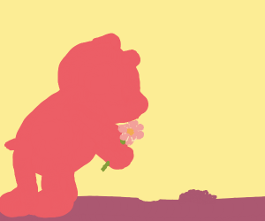 Bear plants a flower