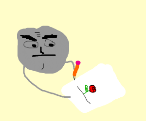 Really concentrated rock draws flowers