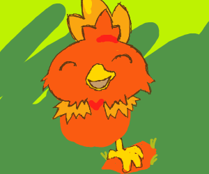 torchic with happy anime face