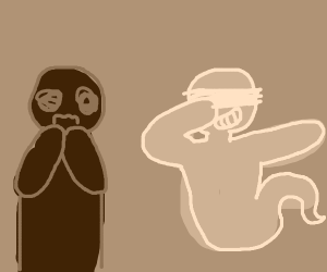 Guy scared of ghost dabbing.