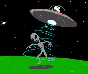 Cow abducting Alien