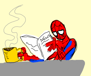 spider man drinking coffee