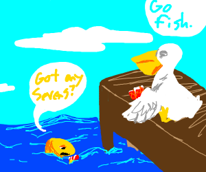Pelican and gold fish play go fish