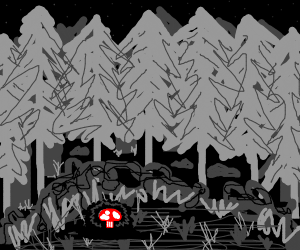 Mushroom in a Dark Forest