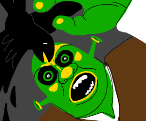 Shrek attacked by a crow