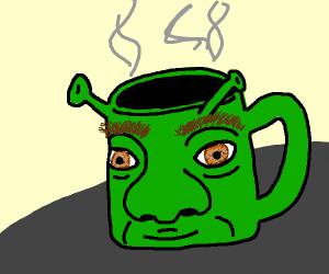 Shrek mug with real hair