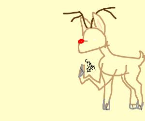 Rudolph the red nosed reindeer broke his foot