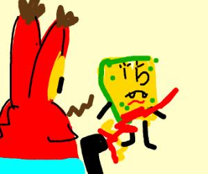 Mr Krabs shoots Moldy Spongebob