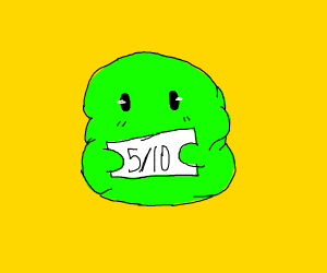 green jelly baby gives a 5/10 rating