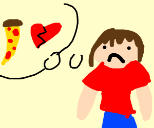 Man Distraught over lost relationship w/pizza