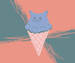 cat as an ice cream