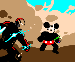 Mickey vs guy in red mask