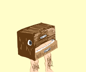 Drawer with mouth, eyes, and hairy human legs