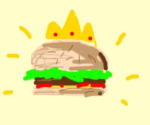 burguer wearing a crown