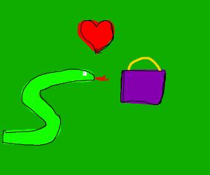 snek loves purple bag