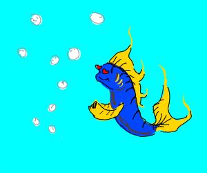 Blue fish loves bubbles